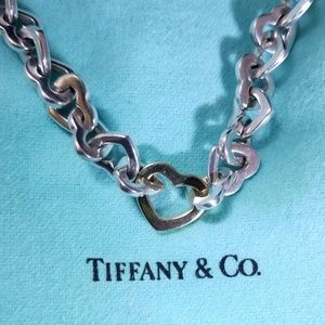 Tiffany & Co. Heart Link Necklace w/Centered Gold